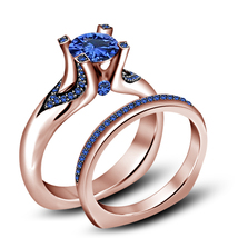 Bridal Engagement Wedding Ring Set Blue Sapphire 14k Rose Gold Plated 925 Silver - $84.99