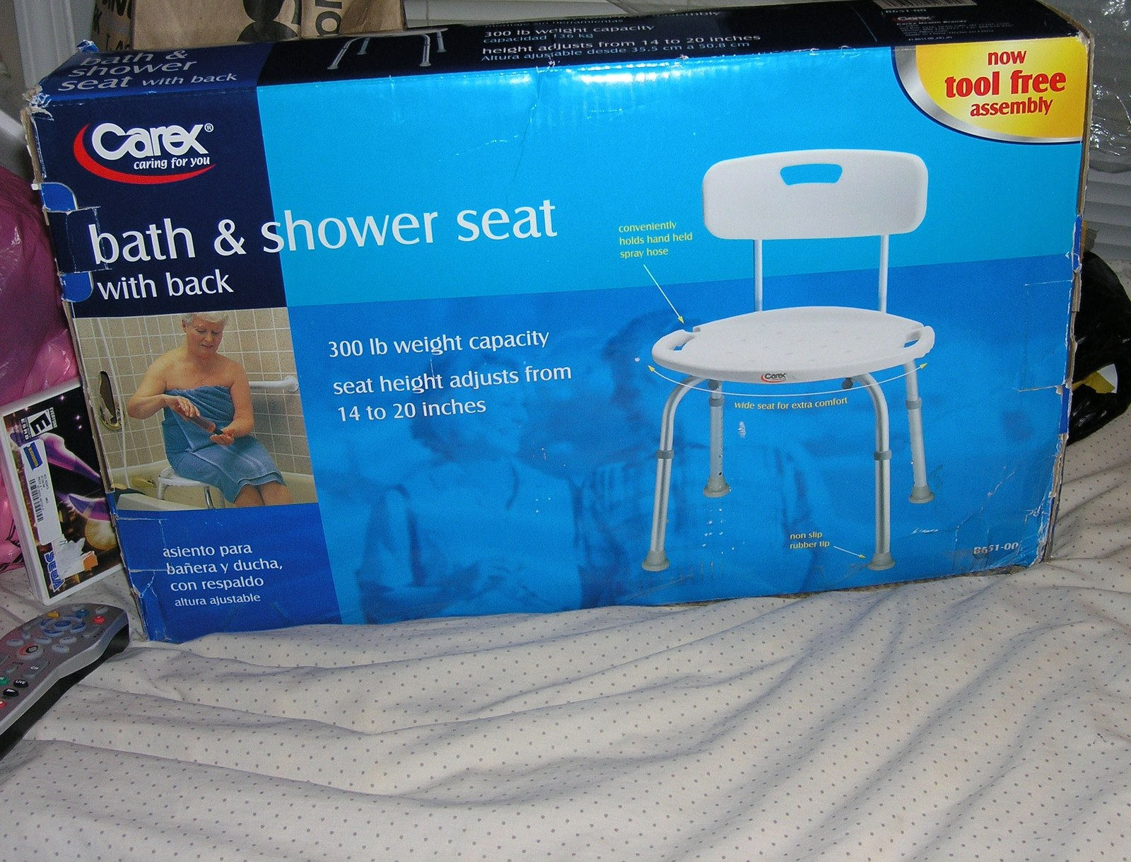 Carex Adjustable Bath and Shower Seat with Back Support