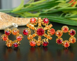 Vintage Austria Brooch Pin Clip Earrings Set Rhinestones Orange Red - $29.95