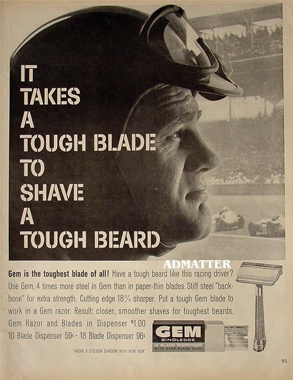 1958 Gem Razor Ad Tough Beard Tough Blade Racing driver