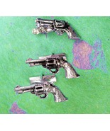 Vintage pistol Cufflinks Six Shooter gun Tie Clip Industrial Silver Colt... - $110.00