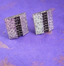 Black Diamonds & Silver Cufflinks Vintage Rhinestone Jewels Wedding Form... - $75.00