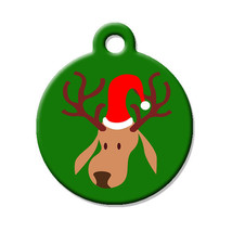 Custom Pet ID Tag - Christmas Reindeer- on the front, your contact info on the b - $14.95