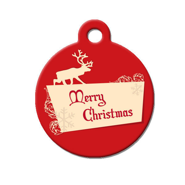 Custom Pet ID Tag - Merry Christmas- on the front, your contact info on the back - $14.95