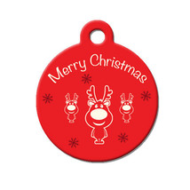 Custom Pet ID Tag - Merry Christmas Reindeer- on the front, your contact info on - $14.95