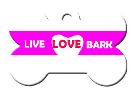Funny Custom Pet ID Tag - Live Love Bark - on the front, your contact info on th - $14.95