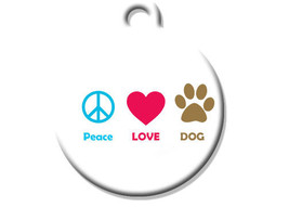 Funny Custom Pet ID Tag - Peace Love Dog - on the front, your contact info on th - $14.95