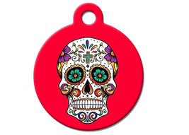 Funny Custom Pet ID Tag - Day Of The Dead- on the front, your contact info on th - $14.95
