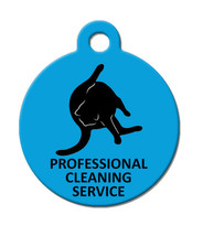 Funny Custom Pet ID Tag - Professional Cleaning Service- on the front, your cont - $14.95