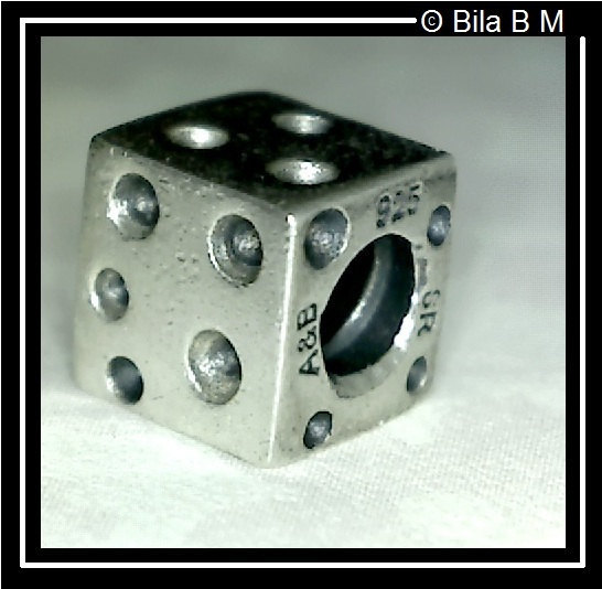 Primary image for DICE Charm Bead - STERLING Silver BIAGI - FREE SHIPPING