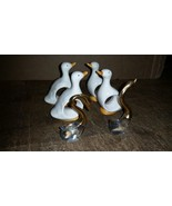 4 Geese Goose Duck Napkin Rings Holders Porcelain ceramic w/ gold glass ... - $9.99