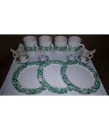 christmas holly leaf coffee cups plates candle holders assortment ceramic - $24.00
