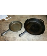 "great used 12"" Cast Iron Skillet with bonus 8"" little one - $58.41"
