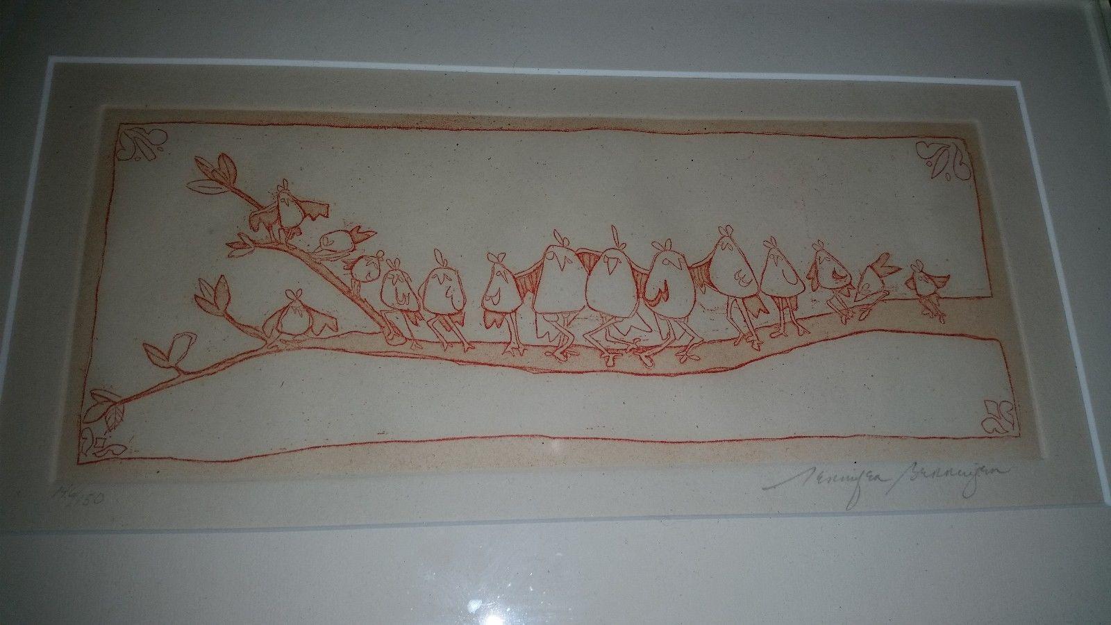 Jennifer Bennington birds on tree branch  Print - Framed