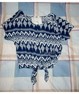 Papaya Geo Print Tie Front Blouse with Lace Pan... - $14.25