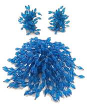 Plastic Jewelry Set Clip Earrings Brooch Pin Blue Fireworks Vintage Jewelry - $75.00