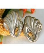Vintage Sterling Silver 925 Earrings Puffy Wave... - $34.95