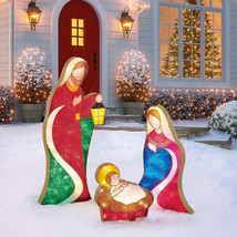 "Nativity Set Indoor Outdoor Christmas Decor 54"" LED Mary, Joseph and Bab... - $167.30"