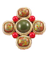 Sarah Coventry Mosaic cross brooch 1960s goldto... - $28.00