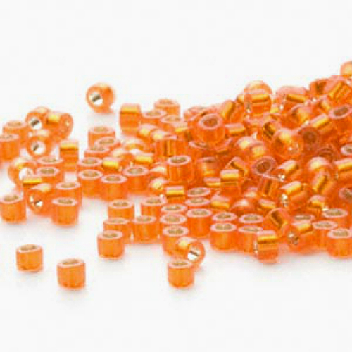 Miyuki Delicas 11/0 Semi Matte S/L Squash Orange 681, 50g bag of beads frosted