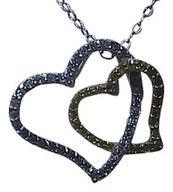 Sterling Silver Double Heart Necklace - $20.00