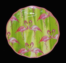 "8 Cynthia Rowley FLAMINGOS Stripes Scalloped 8-3/4"" Melamine Luncheon Pl... - $49.99"