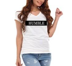 Humble Across Chest Stripe Faux Leather Vinyl Ladies V-Neck T-Shirt - $12.00