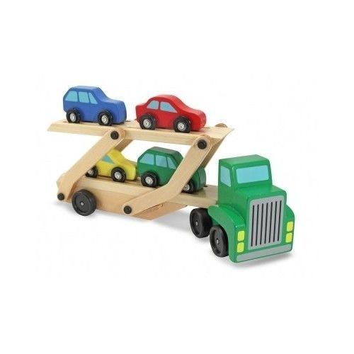 Melissa & Doug Car Carrier Truck 4 Cars Wooden Toy Set Kid Educational ...