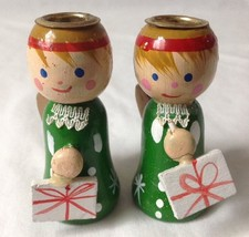 """2 Vintage Wooden Christmas Angel Candle Stick Holders 2.75"""" - $16.95"""