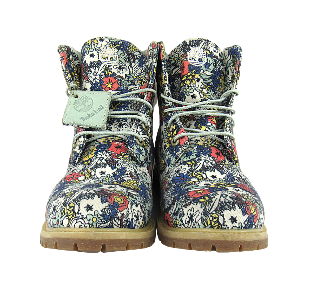 "Primary image for Custom Timberland ""Floral Escape"" Premium Style Fabric, Size 10 Women"