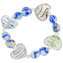 Pugster Handmade Murano Glass Blue And Heart Charm Bracelet - $13.99