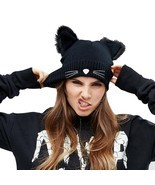 Knitted Cat Ears Hats Warm Winter Hat Women Wool Faux Mink Caps Female B... - €5,95 EUR