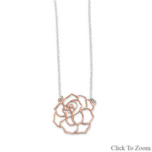 Sterling Silver Chain Necklace with Rose Gold Cut Out Rose Pendant - $39.95