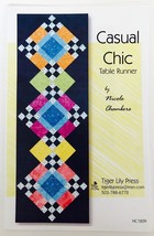 """Quilt Pattern Table Runner Casual Chic Nicole Chambers Tiger Lily 16"""" x ... - $7.37"""