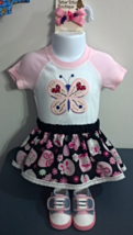 Infant Embroidered Pink Butterfly Bodysuit - Sz 6 mo - Skirt, Barrette &... - $26.95