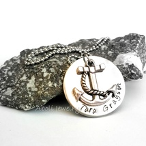 Silver Anchor Pendant Necklace Stamped Disc Nau... - $20.00