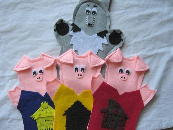 Three Little Pigs Hand Puppets