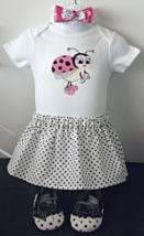 Infant Embroidered Bodysuit - Sz 6-9 mo - Pink Ladybug, Skirt, Headband ... - $26.95
