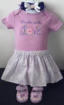 Infant Embroidered Bodysuit - Sz 6-9 mo- Made With Love, Skirt, Headband... - $26.95
