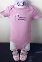 Infant Lavender Bodysuit - Sz 3-6 mo - Princess in Training + Headband &... - $19.95