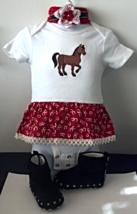 Infant Embroidered Western Horse Bodysuit Sz 6-9 mo, Headband & Fringe M... - $29.95