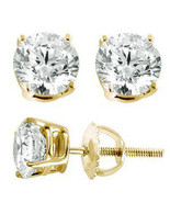 Mens & Ladies Gold Finish Lab Diamond Round Scr... - $7.91 - $14.84