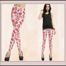 Hot Red Kiss Lips on Skin Tight Stretch Pants Leggings White or Black Sized Fit  image 2