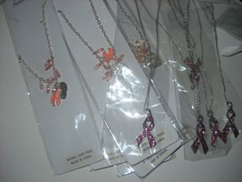 Pink Ribbon Necklaces lot 10 Cancer Awareness 5 Rhinestone Ribbon + 5 he... - $15.00