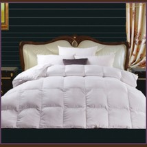 Queen White Jacquard Weave Silk Quilted White Duck Down Duvet Comforter