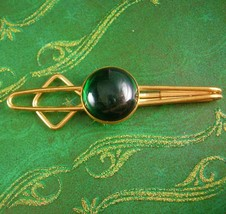 1920s Deco Green Tie Clip Vintage Large Jeweled Men's Tie Fashionable Je... - $85.00