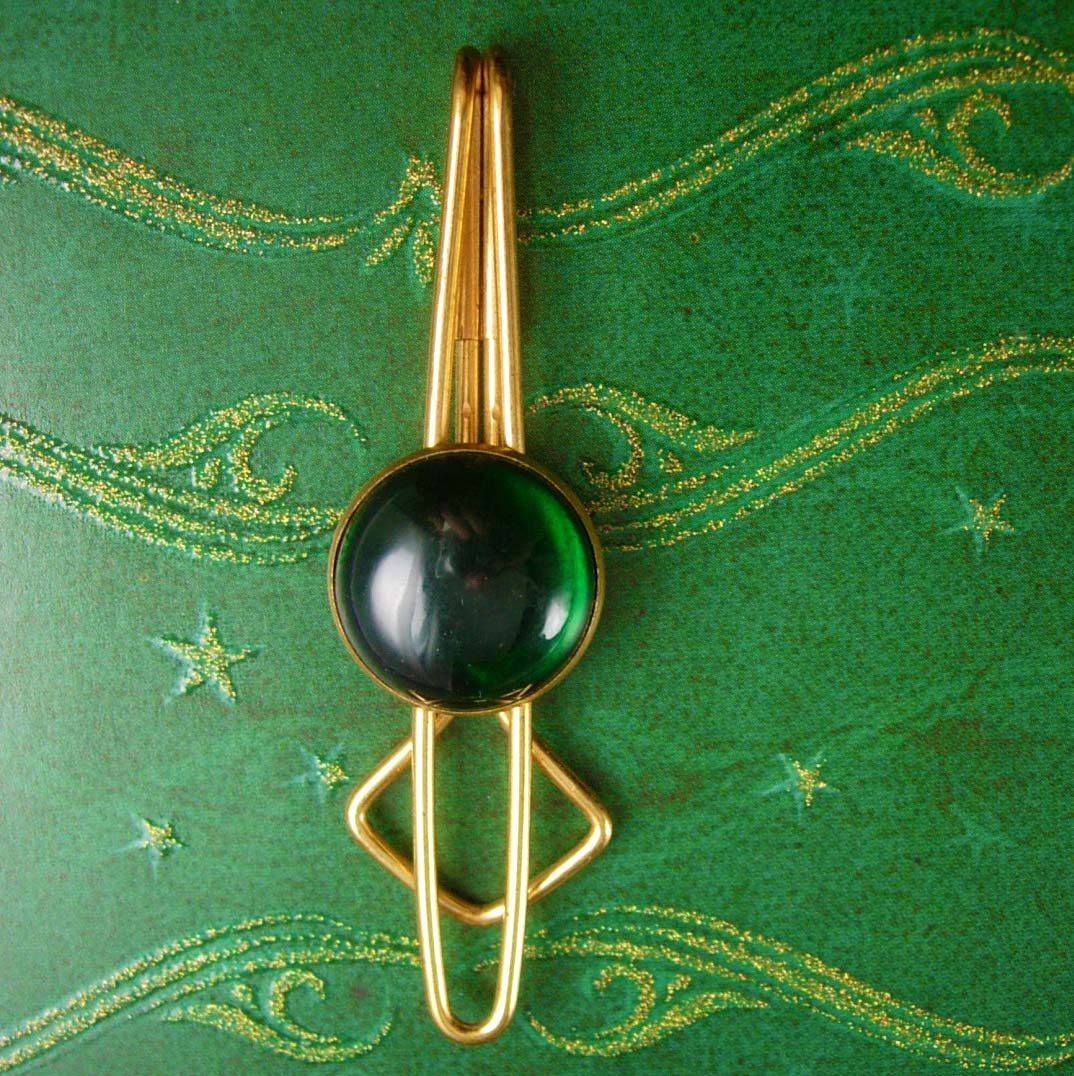 1920s Deco Green Tie Clip Vintage Large Jeweled Men's Tie Fashionable Jewelry Ti