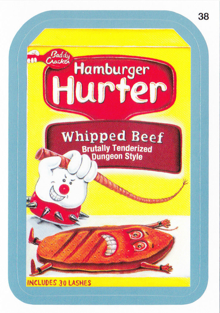 2013 WACKY PACKAGES ANS11 BLUE BORDER CARD **HAMBURGER HURTER** #38 NEW SERIES