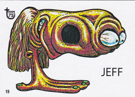 """2013 Topps 75th Anniversary Pop Culture 46 UGLY STICKERS""""JEFF"""" RARE CARD!! - $1.00"""