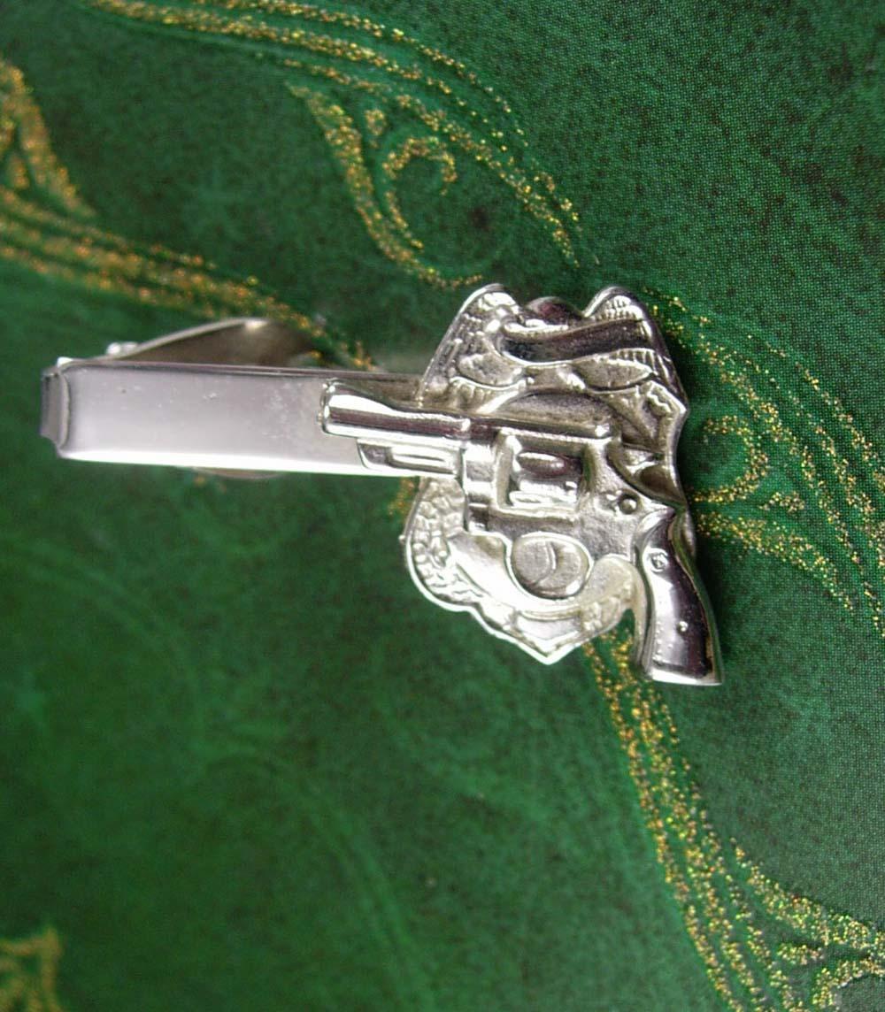 Gun & Badge Tie Clip Vintage Sculpted Novelty Men's Serve and Protect Tie Access